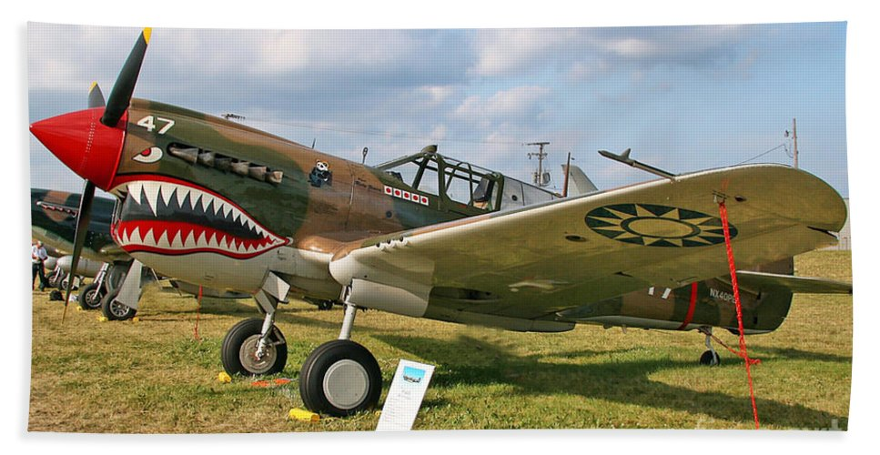 Curtis P-40 Warhawk Beach Towel featuring the photograph Tiger In The Grass by Tommy Anderson