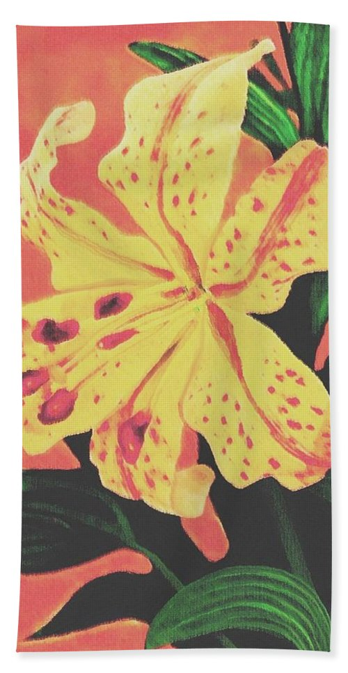 Floral Beach Towel featuring the painting Tiger Lily by Sophia Schmierer