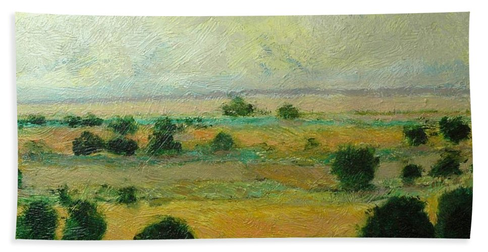 Landscape Beach Towel featuring the painting Till The Clouds Rolls By by Allan P Friedlander