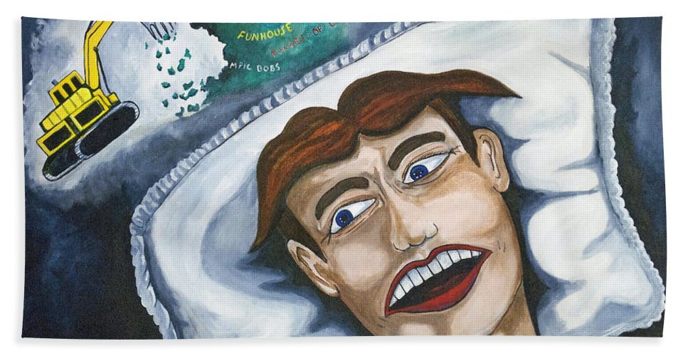 Asbury Park Beach Towel featuring the painting Tillies Nightmare by Patricia Arroyo