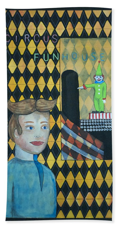 Asbury Park Beach Towel featuring the painting A Postcard Memory by Patricia Arroyo