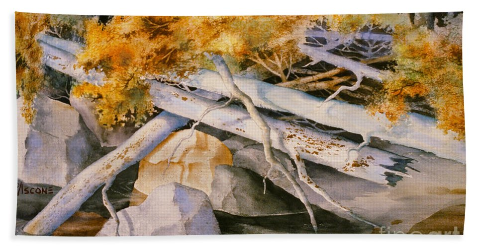 Timber Tumble Beach Towel featuring the painting Timber Tumble by Teresa Ascone