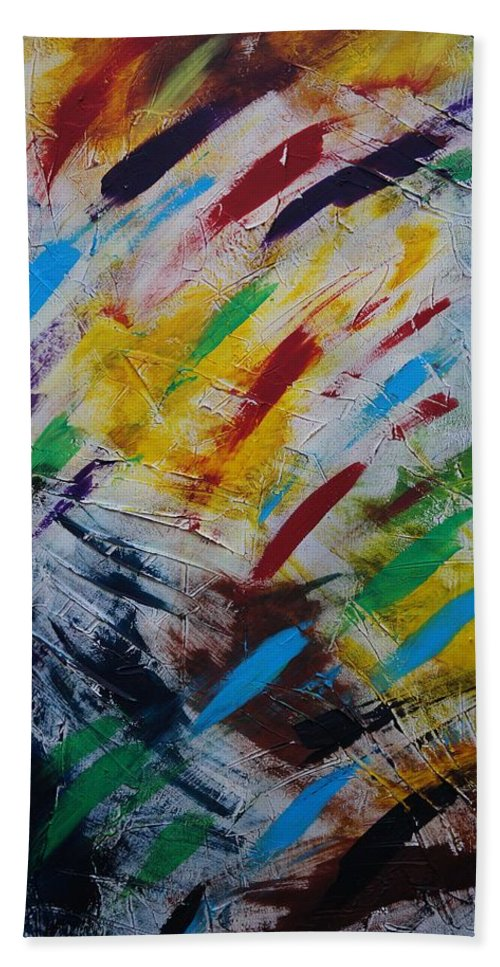 Abstract Beach Towel featuring the painting Time stands still by Sergey Bezhinets