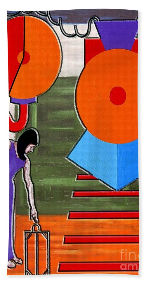 Train Beach Towel featuring the painting Time To Go by Patrick J Murphy