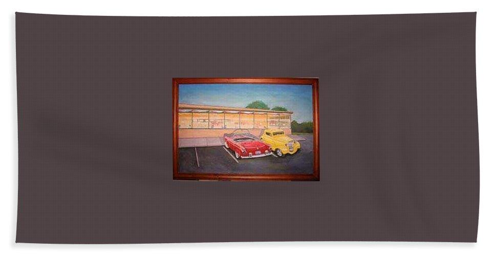 Rick Huotari Beach Sheet featuring the painting Times Past Diner by Rick Huotari