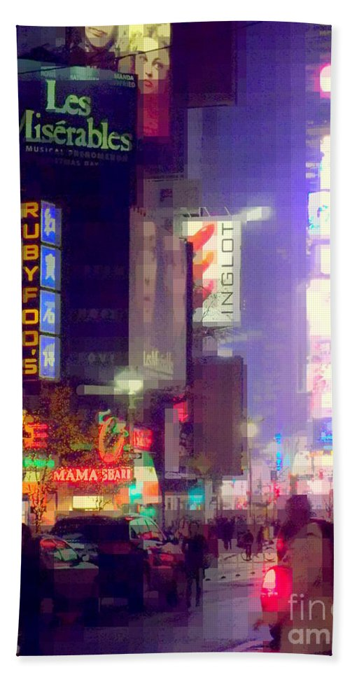 Times Square Beach Towel featuring the photograph Times Square At Night - Columns Of Light by Miriam Danar