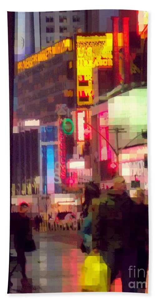 Abstract Beach Towel featuring the photograph Times Square - Man Walking With Yellow Bag by Miriam Danar