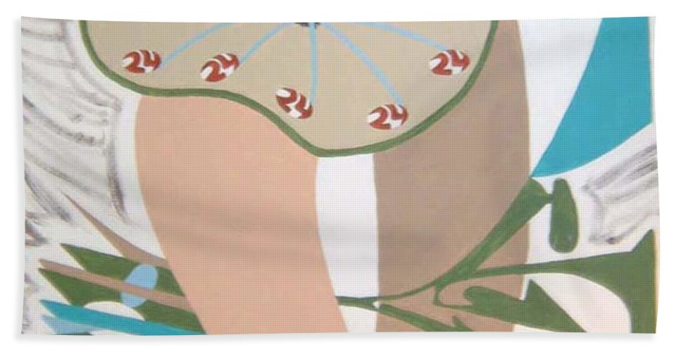 Abstract Beach Towel featuring the painting Times Up by Dean Stephens