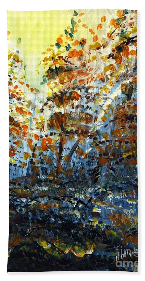 Autumn Beach Towel featuring the painting Tim's Autumn Trees by Holly Carmichael