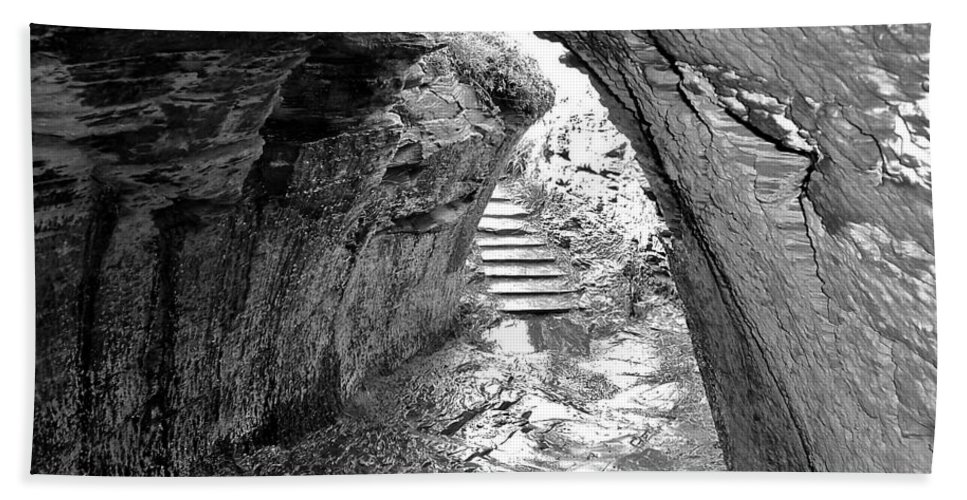 Black And White Beach Towel featuring the photograph Tintagel Fogou 1 by Denise Mazzocco
