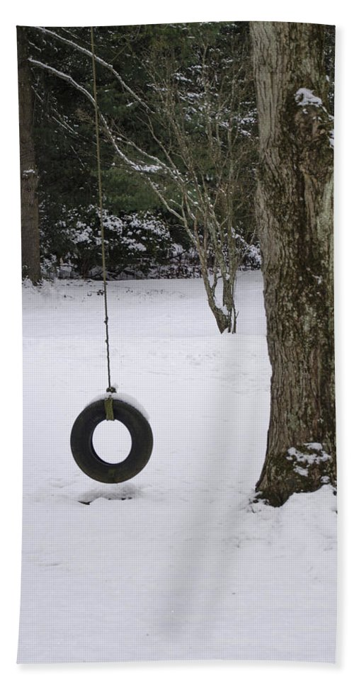 Tire Beach Towel featuring the photograph Tire Swing In Winter by Bill Cannon