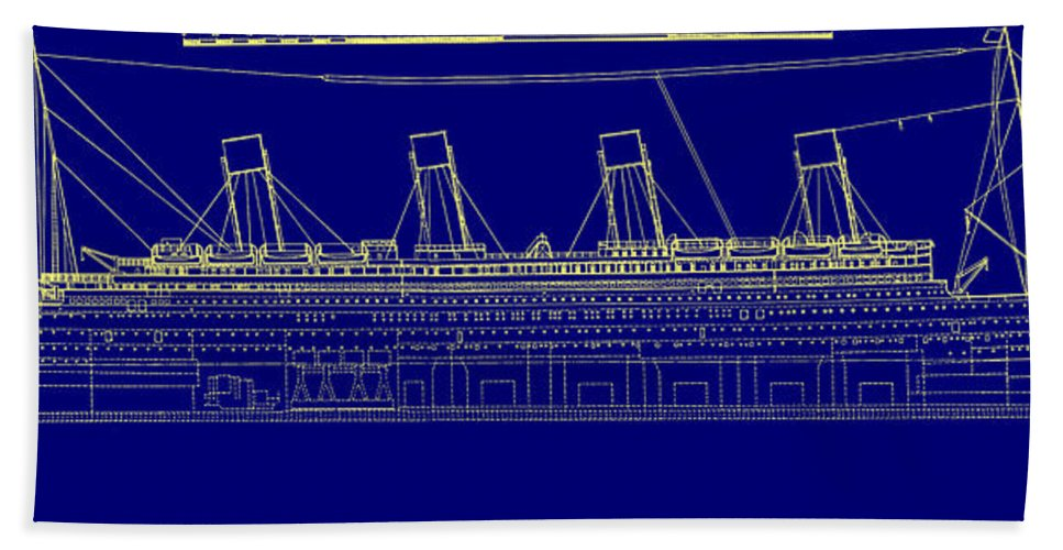 Titanic Blueprint Beach Towel For Sale By Bill Cannon