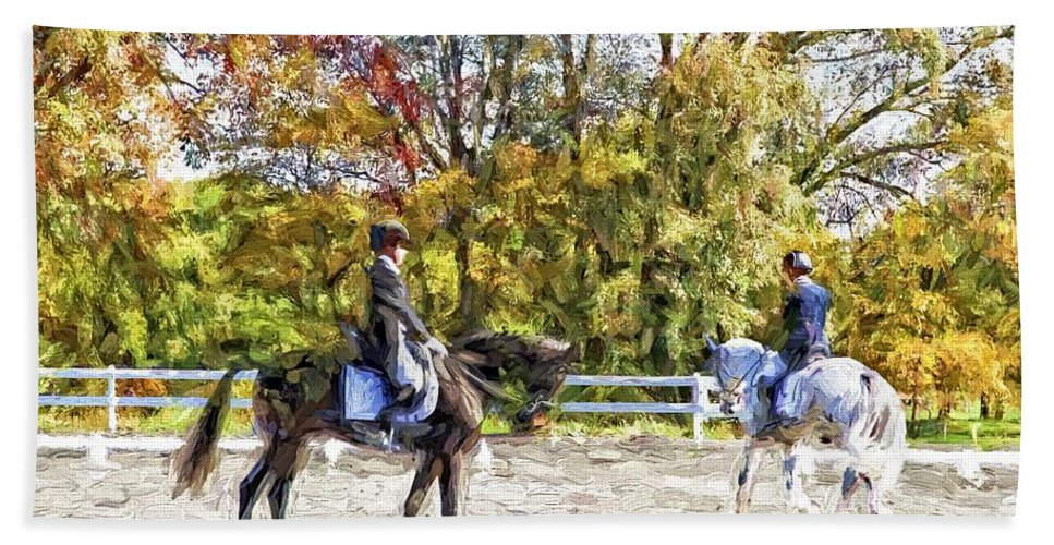 Horses Beach Towel featuring the photograph To A Halt by Alice Gipson