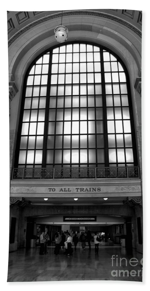 Union Station Beach Towel featuring the photograph To All Trains Chicago Union Station by Thomas Woolworth