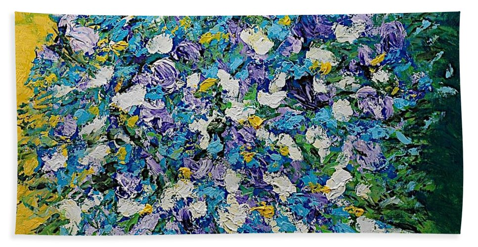 Landscape Beach Sheet featuring the painting To Have And Delight by Allan P Friedlander
