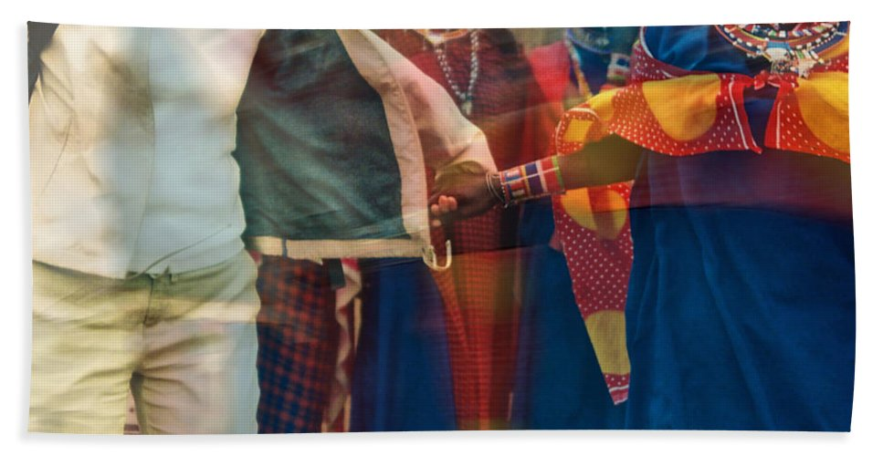 Maasai Beach Towel featuring the photograph To Hold Hands by Gwyn Newcombe