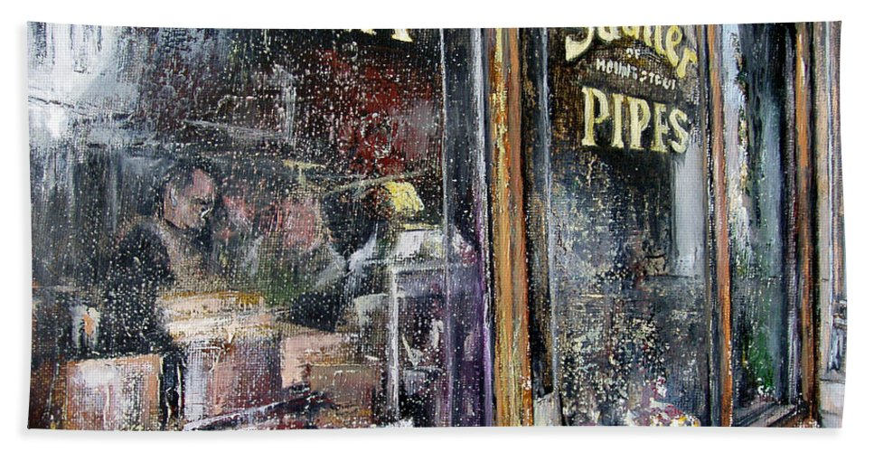 Tobacconists Beach Towel featuring the painting Tobacconists Sautter of Mount Street -London by Tomas Castano