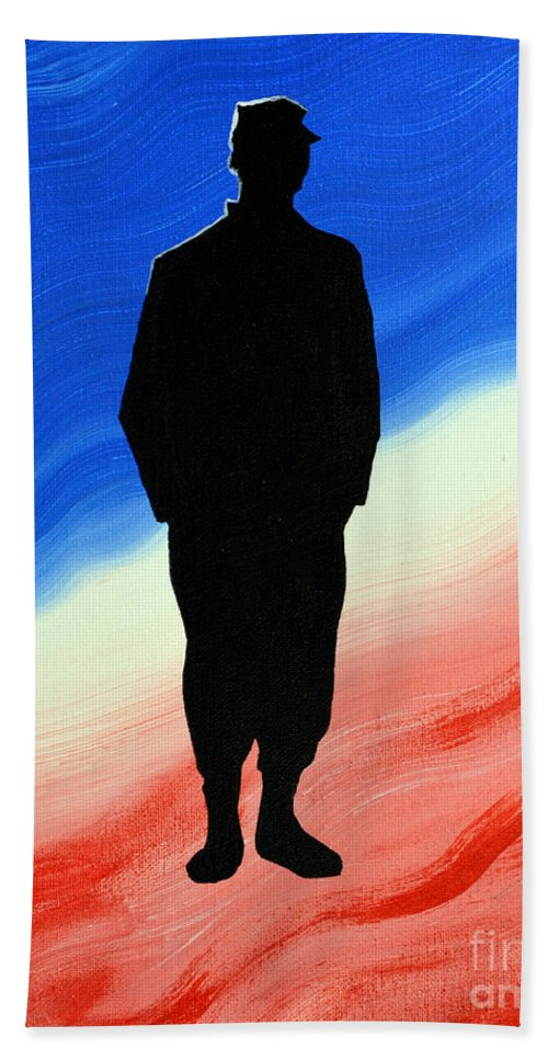 Us Military Beach Towel featuring the painting Today's Soldier by Alys Caviness-Gober