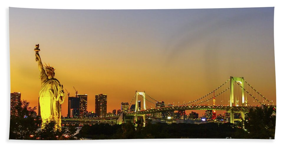 Japan Beach Towel featuring the photograph Tokyo Odaiba by Ruth Hofshi