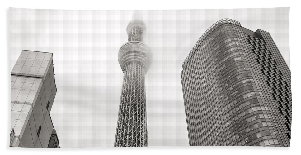 Skytree Beach Towel featuring the photograph Tokyo Skytree In Clouds by For Ninety One Days