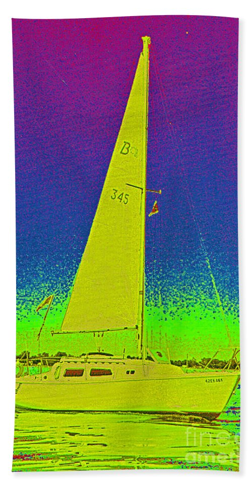 Tom Ray Beach Towel featuring the photograph Tom Ray's Sailboat by First Star Art