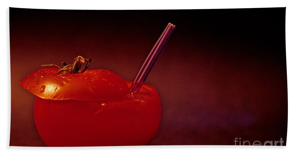 Tomato Beach Towel featuring the photograph Tomato Juice by Sharon Elliott