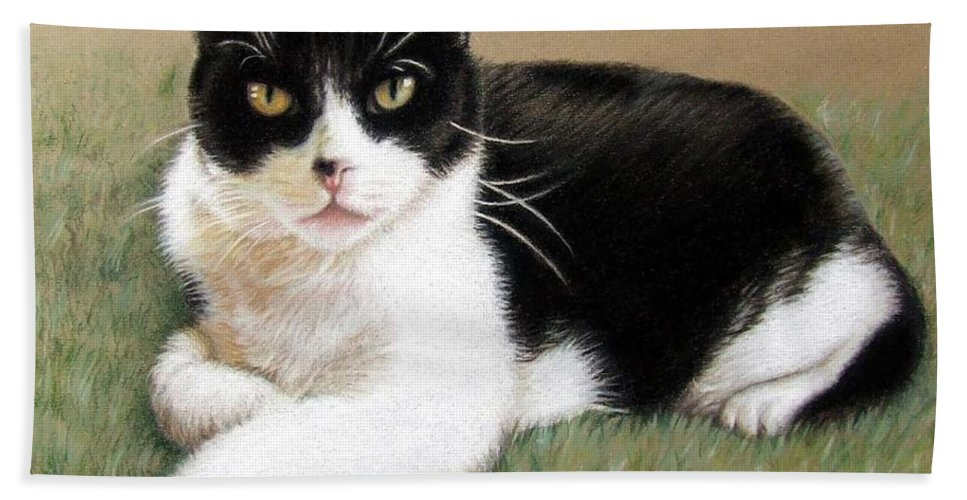 Cat Beach Towel featuring the pastel Tomcat Baloo by Nicole Zeug