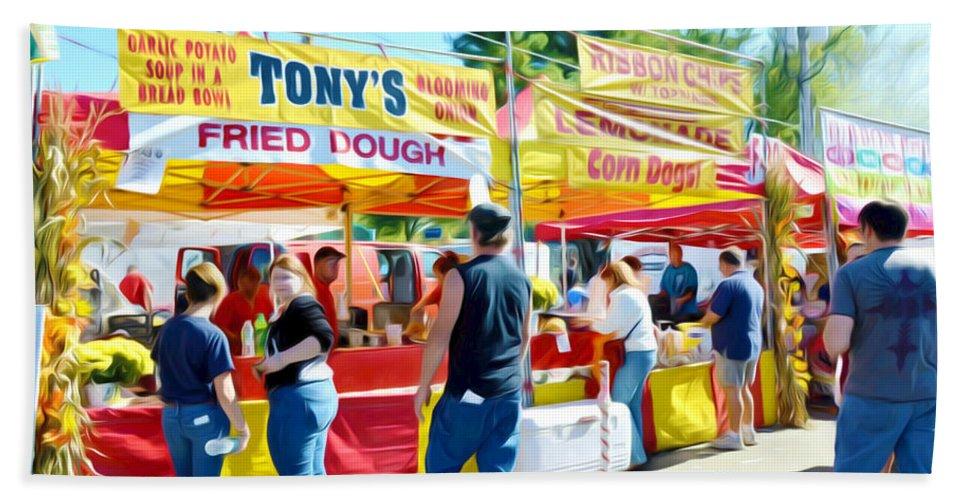 Tonys Concessions Potato Garlic Soup Bread Bowl Beach Towel featuring the painting Tonys Concessions Potato Garlic Soup Bread Bowl by Jeelan Clark