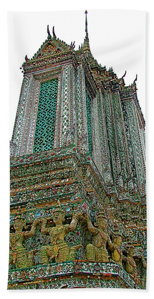 Top Of Temple Of The Dawn Beach Towel featuring the photograph Top Of Temple Of The Dawn-wat Arun In Bangkok-thailand by Ruth Hager