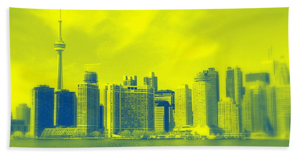Toronto Beach Towel featuring the photograph Toronto Downtown View by Valentino Visentini