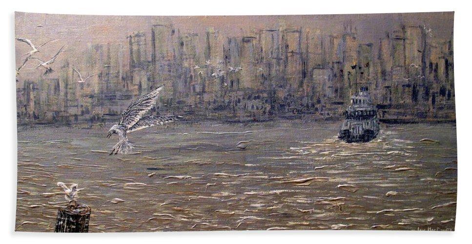 Toronto Beach Towel featuring the painting Toronto Harbor Morning by Ian MacDonald