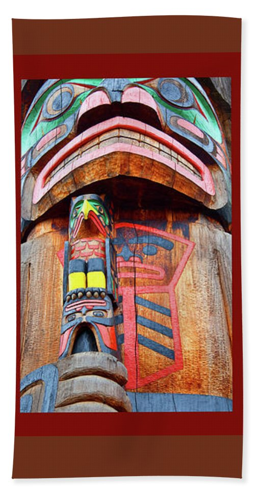 Native American Beach Towel featuring the photograph Totem 3 by Theresa Tahara