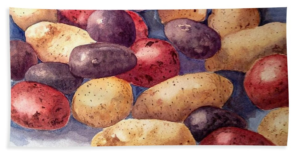 Potatoes Beach Towel featuring the painting Tots by Nicole Curreri