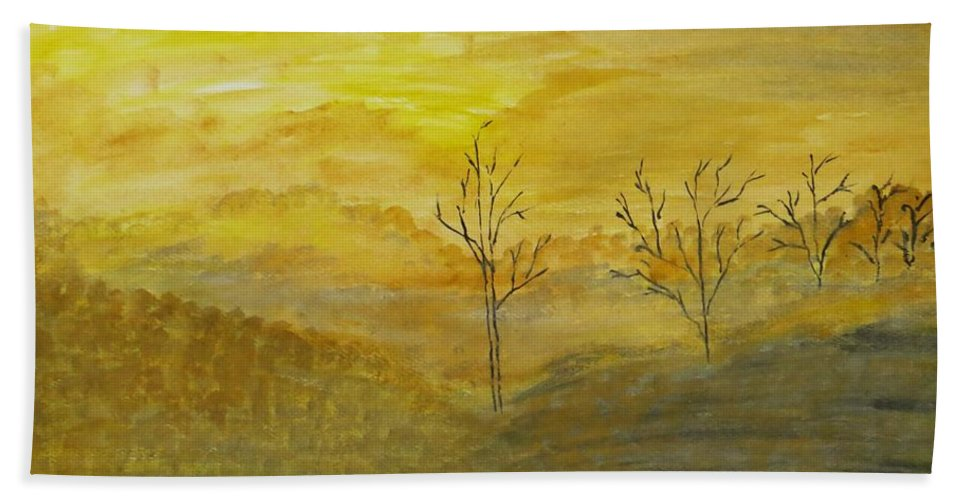 Beauty Of Moning Beach Towel featuring the painting Touch Of Gold by Sonali Gangane