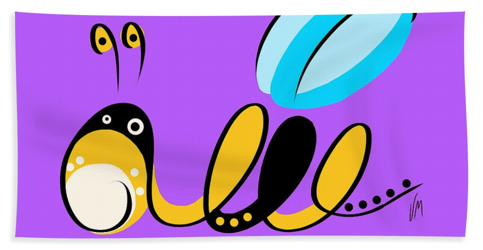 Bee Beach Towel featuring the digital art Thoughts And Colors Series Bee by Veronica Minozzi