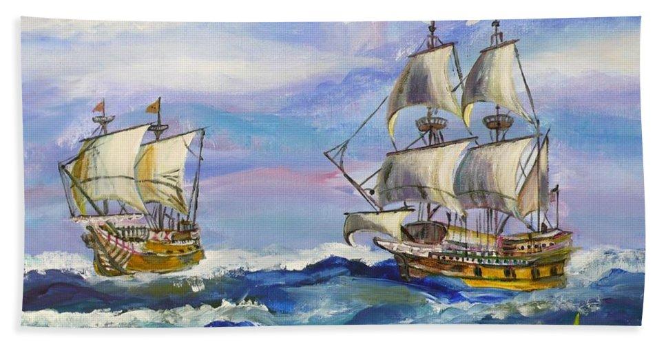 Ship Beach Towel featuring the painting Towards The Horizon Bg by Anna Ruzsan