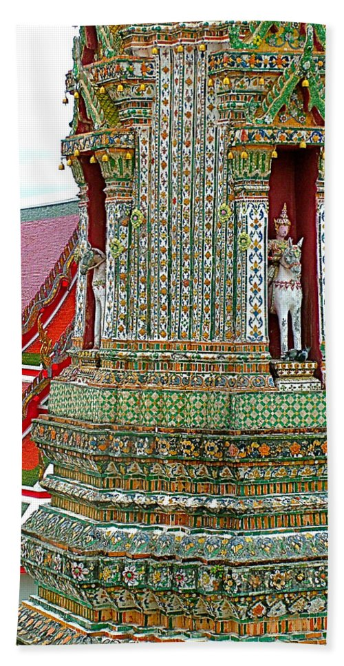 Tower At The Temple Of The Dawn Beach Towel featuring the photograph Tower At Temple Of The Dawn-wat Arun In Bangkok-thailand by Ruth Hager