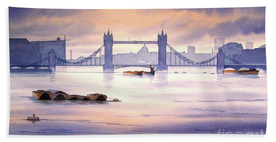 Tower Bridge Beach Towel featuring the painting Tower Bridge London by Bill Holkham