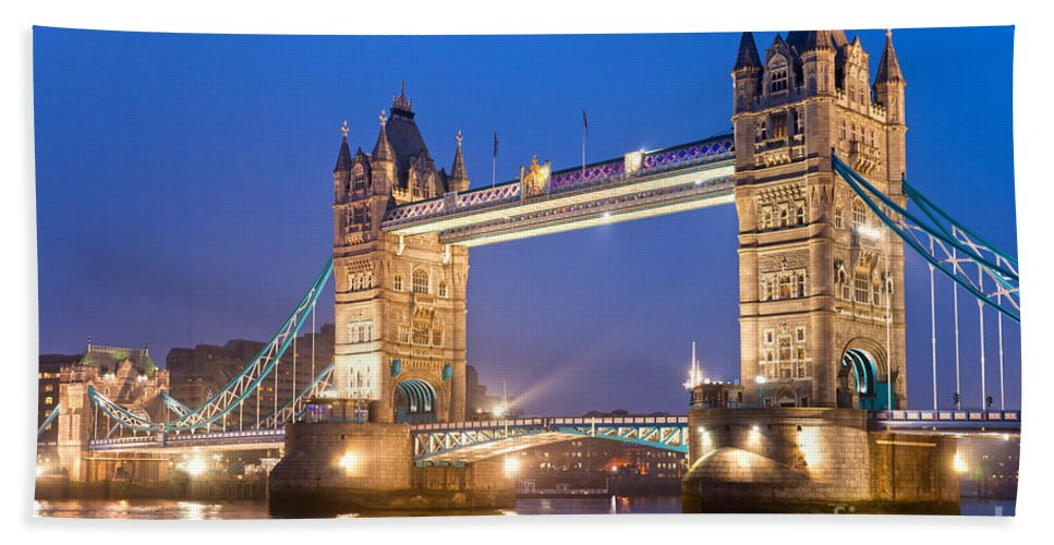 Architecture Beach Towel featuring the photograph Tower Bridge by Luciano Mortula