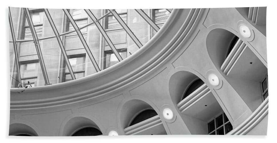 Tower City Center Beach Towel featuring the photograph Tower City Rotunda by Jenny Hudson
