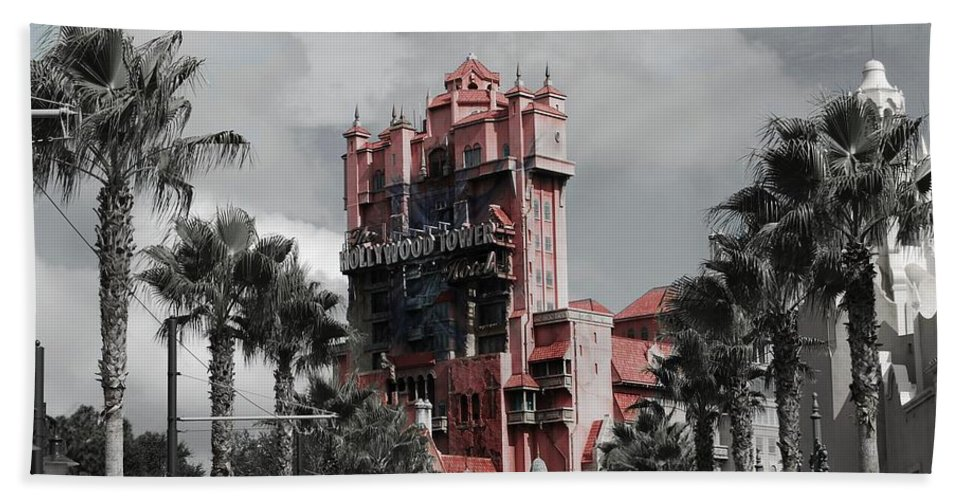 Architecture Beach Towel featuring the mixed media Tower Of Terror In Color by Eric Liller