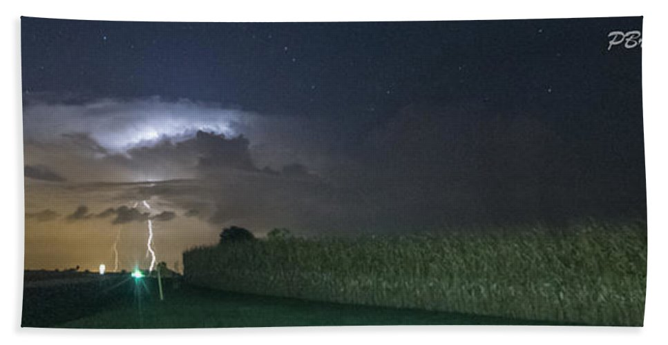 Lightning Beach Towel featuring the photograph Tower Strike Over Fields by Paul Brooks