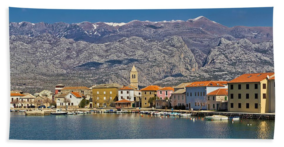 Croatia Beach Towel featuring the photograph Town Of Vinjerac In Front Of Paklenica National Park by Brch Photography