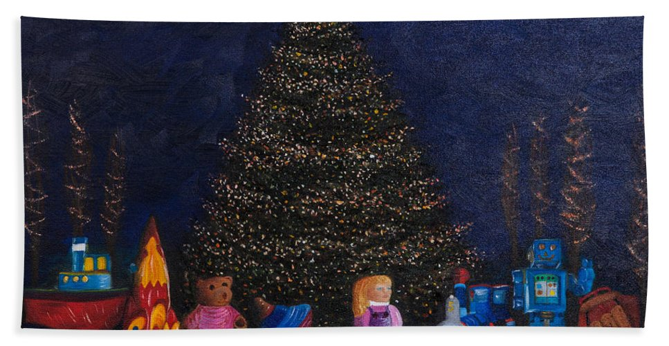Iris Holzer Richardson Beach Towel featuring the painting Christmas Toys by Iris Richardson