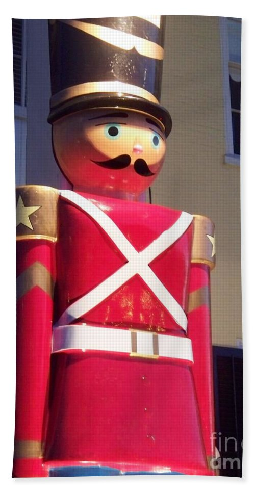 Toy Soldier Beach Towel featuring the photograph Toy Christmas Soldier by Eric Schiabor