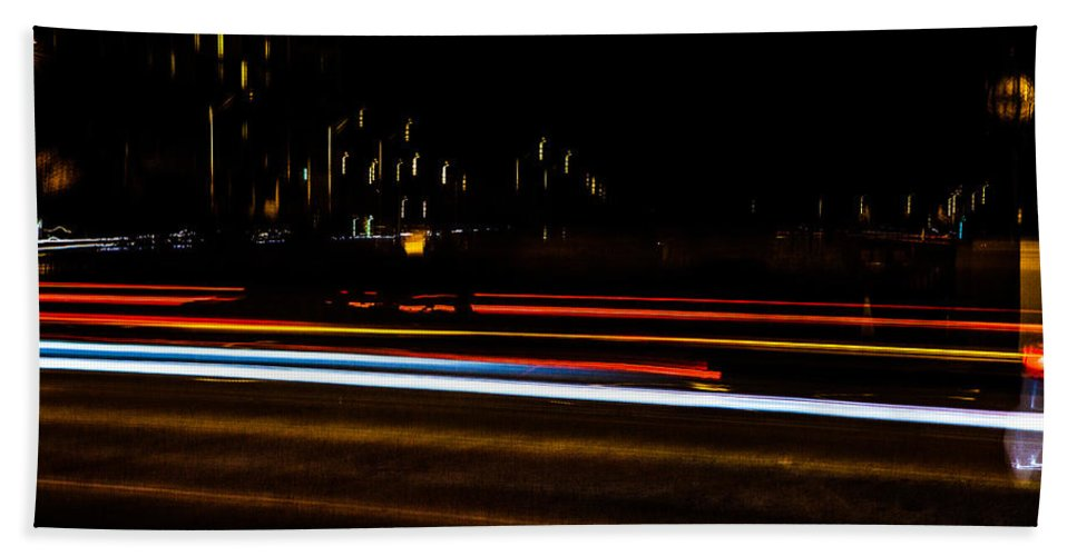 Slow Speed Beach Towel featuring the photograph Tracers by Sennie Pierson