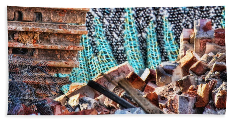 Abstract Art Beach Towel featuring the photograph Tracks And Textures by Sylvia Thornton