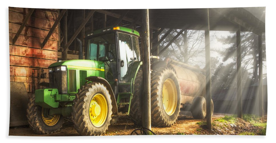 Appalachia Beach Towel featuring the photograph Tractor In The Morning by Debra and Dave Vanderlaan