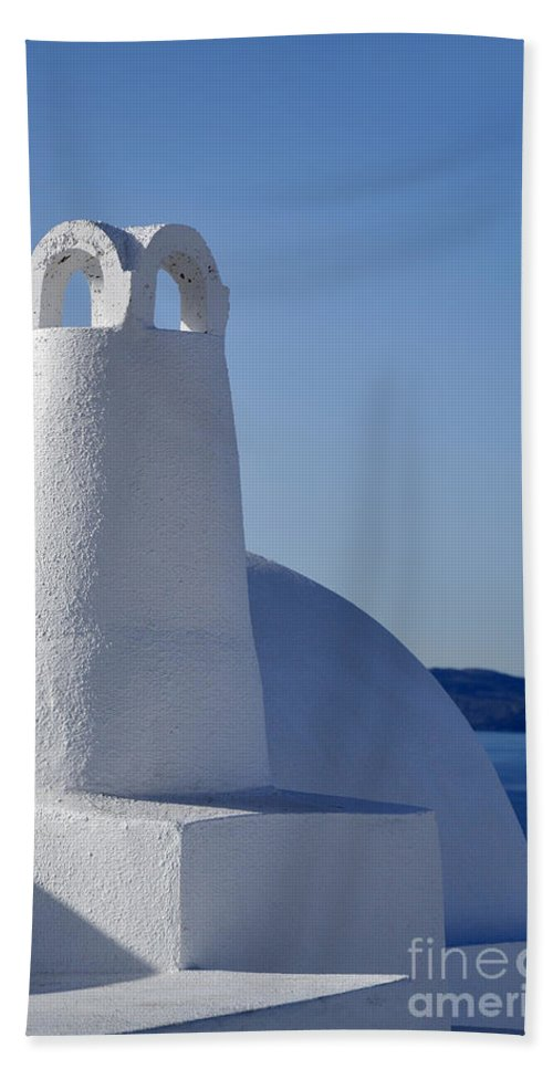 Santorini Beach Towel featuring the photograph Traditional Chimney In Oia Town by George Atsametakis