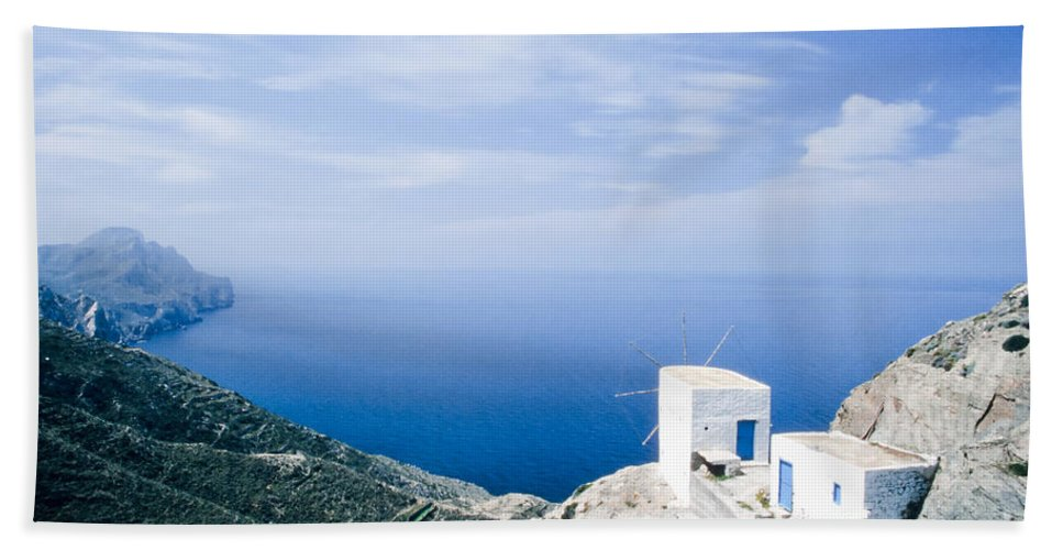 Aegean Beach Towel featuring the photograph Traditional Windmill On Karpathos Island - Greece by Stephan Pietzko